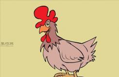 卡通公鸡的画法 教你怎么画公鸡
