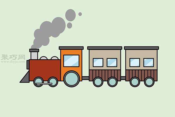 画传统卡通火车的画法步骤 15
