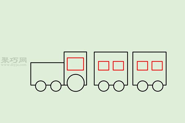 画传统卡通火车的画法步骤 10