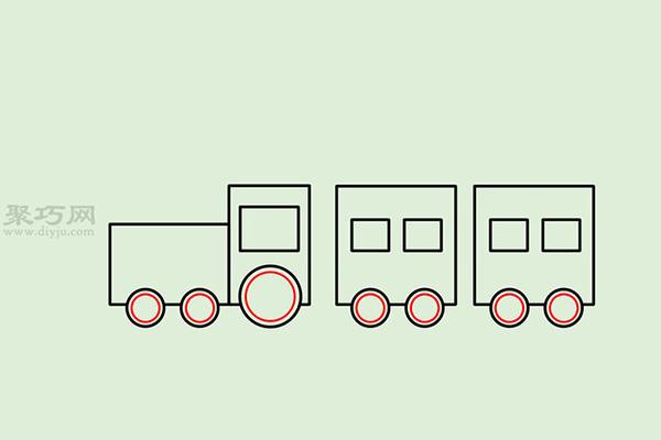 画传统卡通火车的画法步骤 11