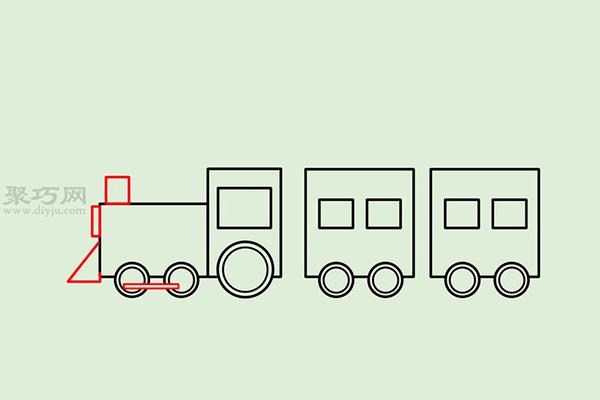 画传统卡通火车的画法步骤 12