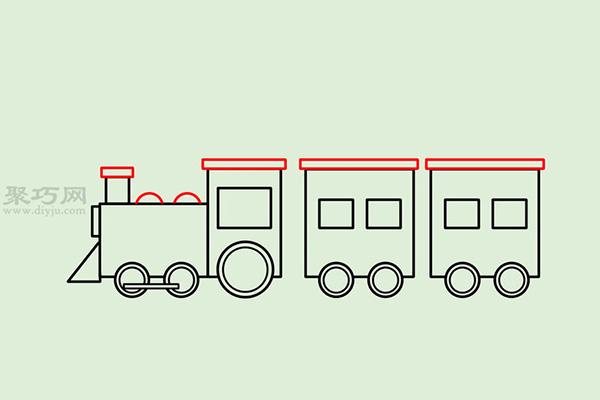 画传统卡通火车的画法步骤 13