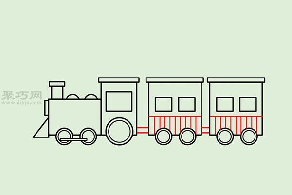 画传统卡通火车的画法步骤 14