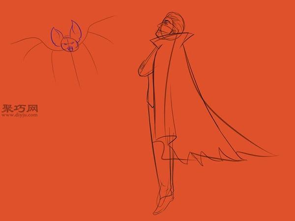 让吸血鬼和蝙蝠齐飞画法教程 11