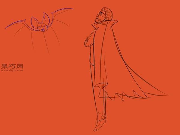 让吸血鬼和蝙蝠齐飞画法教程 14