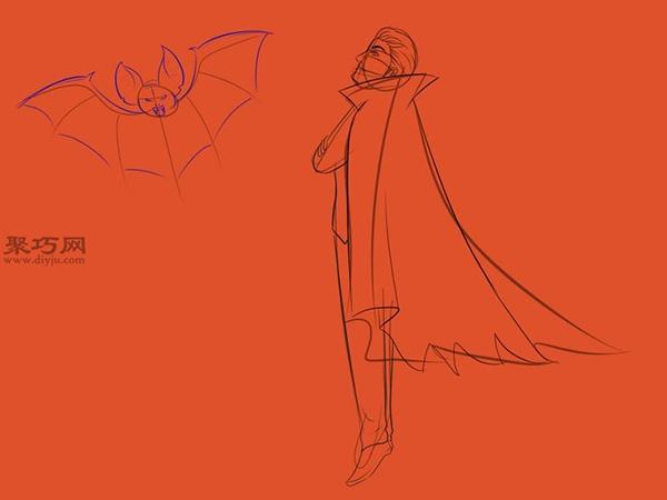让吸血鬼和蝙蝠齐飞画法教程 15