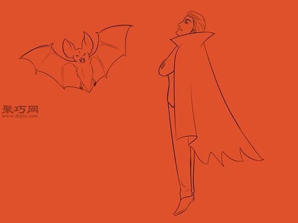 让吸血鬼和蝙蝠齐飞画法教程 18