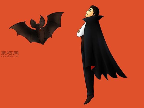 让吸血鬼和蝙蝠齐飞画法教程 20