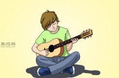 画弹吉他的人的步骤 教你画吉他画法