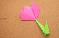 怎么样折带茎百合纸花 来看折纸花步骤