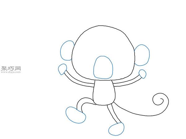 卡通猴子画法步骤 12