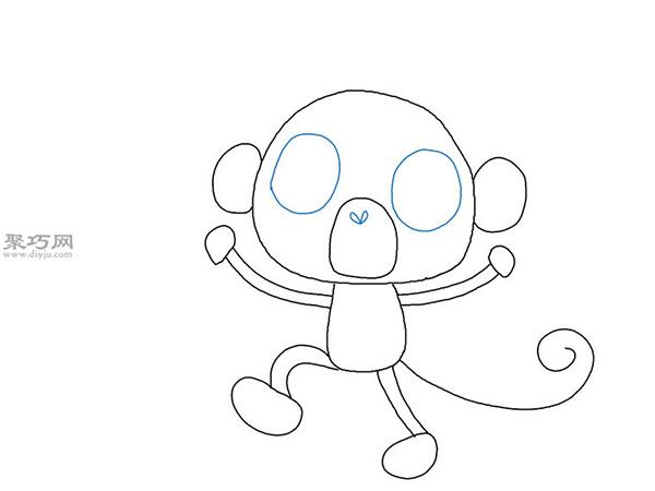 卡通猴子画法步骤 13