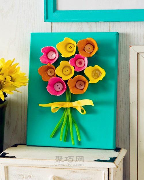 鸡蛋托diy立体花朵装饰画