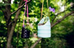 旧物改造饮料瓶做盆栽 饮料瓶制作时尚悬挂小花盆
