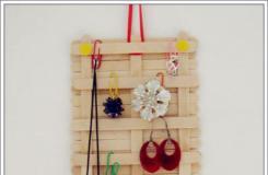 雪糕棍手工制作饰物挂板 冰棒棍diy钥匙挂板