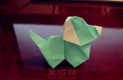 超可爱小狗的折法 立体小狗折纸步骤图解