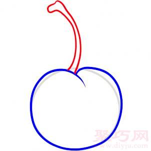 樱桃简笔画第3步