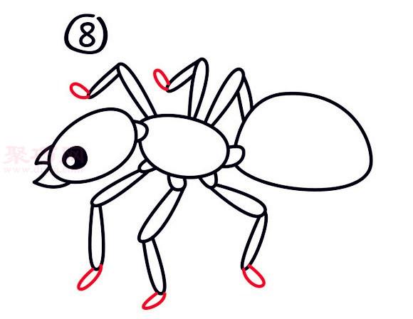 蚁后简笔画第8步