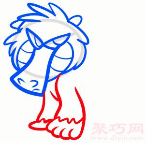 狒狒简笔画第4步