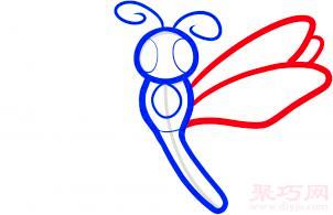 蜻蜓简笔画第4步
