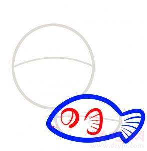 热带鱼简笔画第3步