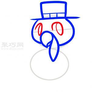 戴礼帽的火鸡简笔画第4步