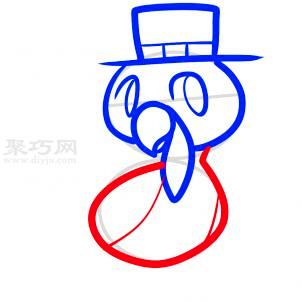 戴礼帽的火鸡简笔画第5步
