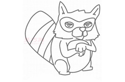 儿童简笔画浣熊先生的画法 教你如何画浣熊先生简笔画