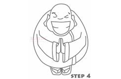 儿童简笔画胖和尚的画法 教你如何画胖和尚简笔画