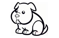 幼儿简笔画牛头犬狗的画法 教你怎么画牛头犬狗简笔画