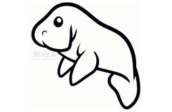 简易画海牛的步骤 画海牛的简笔画图片
