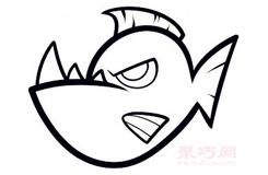 儿童简笔画食人鱼的画法 教你怎样画食人鱼简笔画