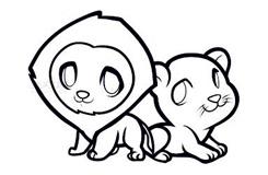 简易画2头小狮子的步骤 画2头小狮子的简笔画图片
