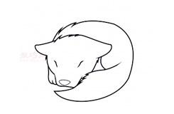 简易画窝着的狼的步骤 画窝着的狼的简笔画图片