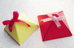 最简单手工折纸包装盒 三角形礼品盒制作图解