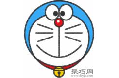 机器猫哆啦A梦的画法步骤 怎么画哆啦A梦简笔画
