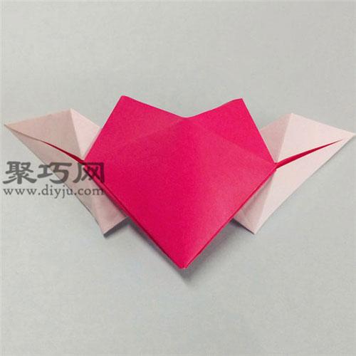 带翅膀的心的折法图解 天使翅膀立体心形折纸怎么折