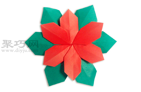 圣诞花的折法图解教程 教你怎么折纸圣诞花