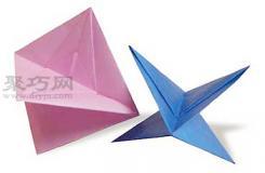 手工折纸吹陀螺步骤图解 折纸吹陀螺的折法