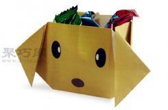 小狗糖果盒的折法图解 教你怎么折纸小狗糖果盒