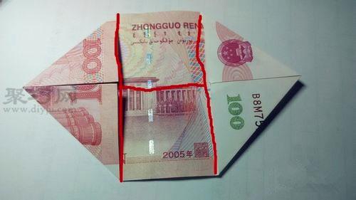 用100元钱折双心图解教程