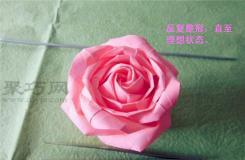 纸折逼真玫瑰的折法 折纸复杂纸玫瑰花图解教程