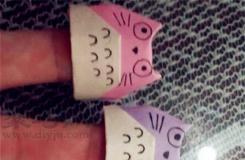 龙猫手指套折纸图解 DIY手工折纸手指套教程