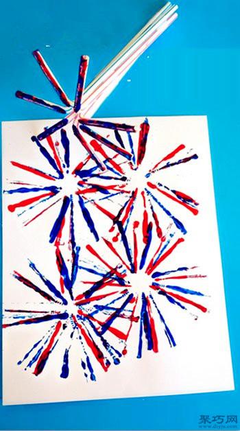 幼儿园创意手工吸管画烟花