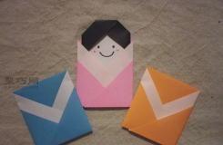 儿童创意手工折纸 可爱的折纸娃娃制作图解