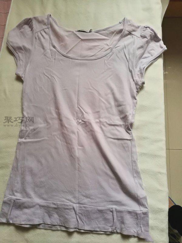 旧T恤改造流苏衫 第1步