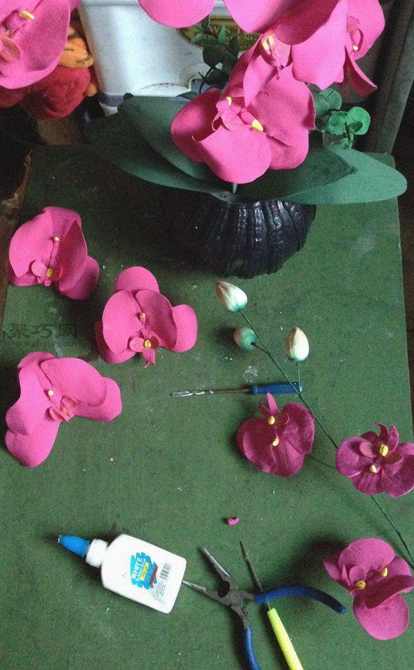 废纸盒和超轻粘土做的花艺摆件 第12步