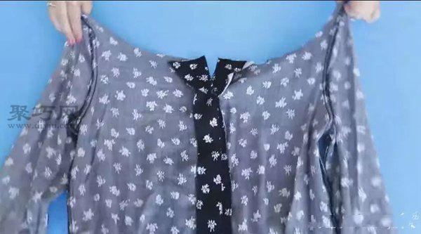 旧衬衫改造改成一字肩 第4步