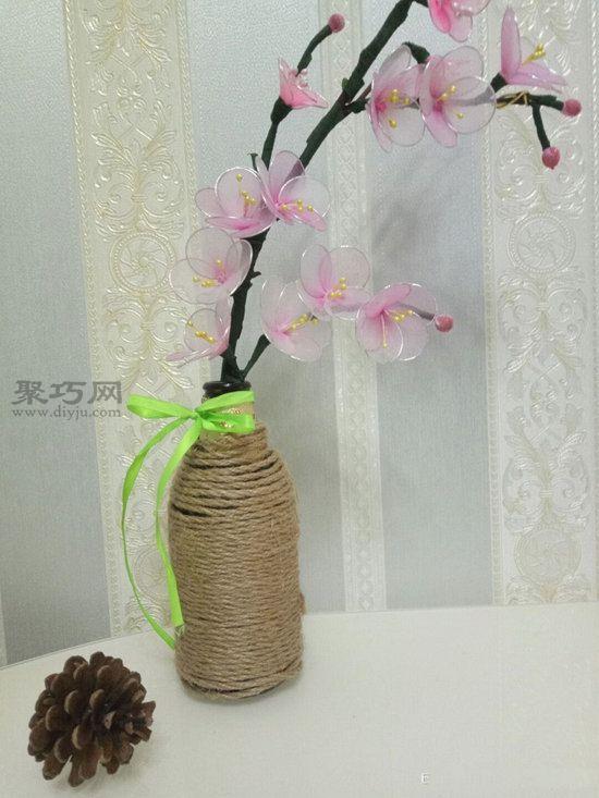 玻璃瓶麻绳变花瓶