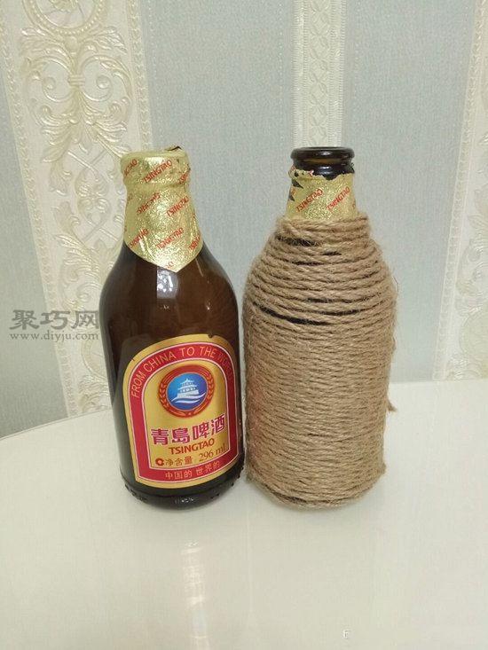 玻璃瓶麻绳变花瓶 第4步